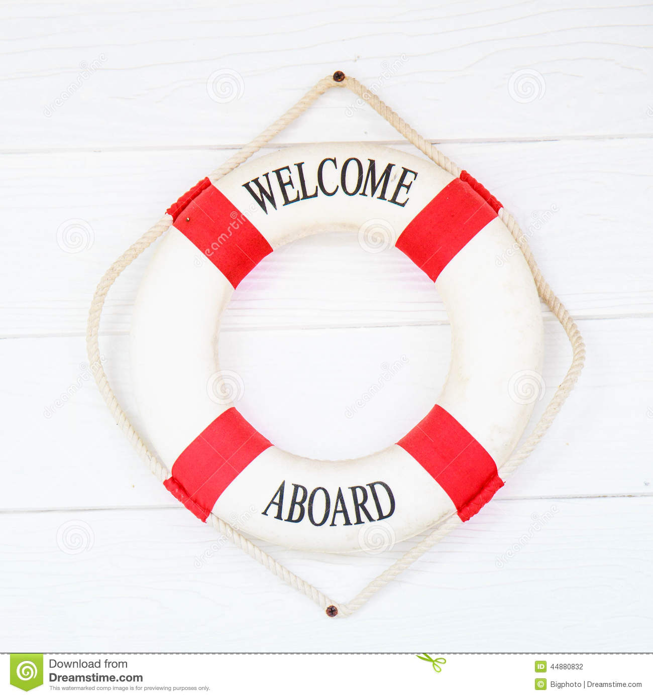 9b97c5594b5a White Life Buoy With Welcome Aboard On White Wall Stock Photo ...