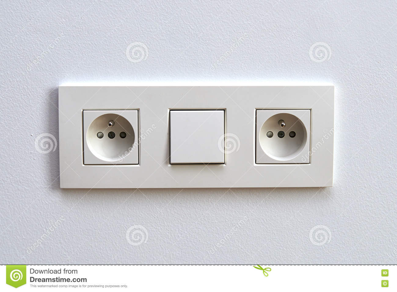 White Light Switch And Electrical Outlet Stock Image - Image of home ...