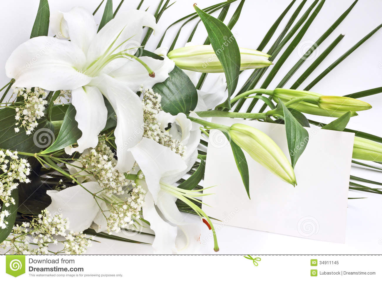 White Lily Flowers And Post Card Stock Photo Image Of Petal