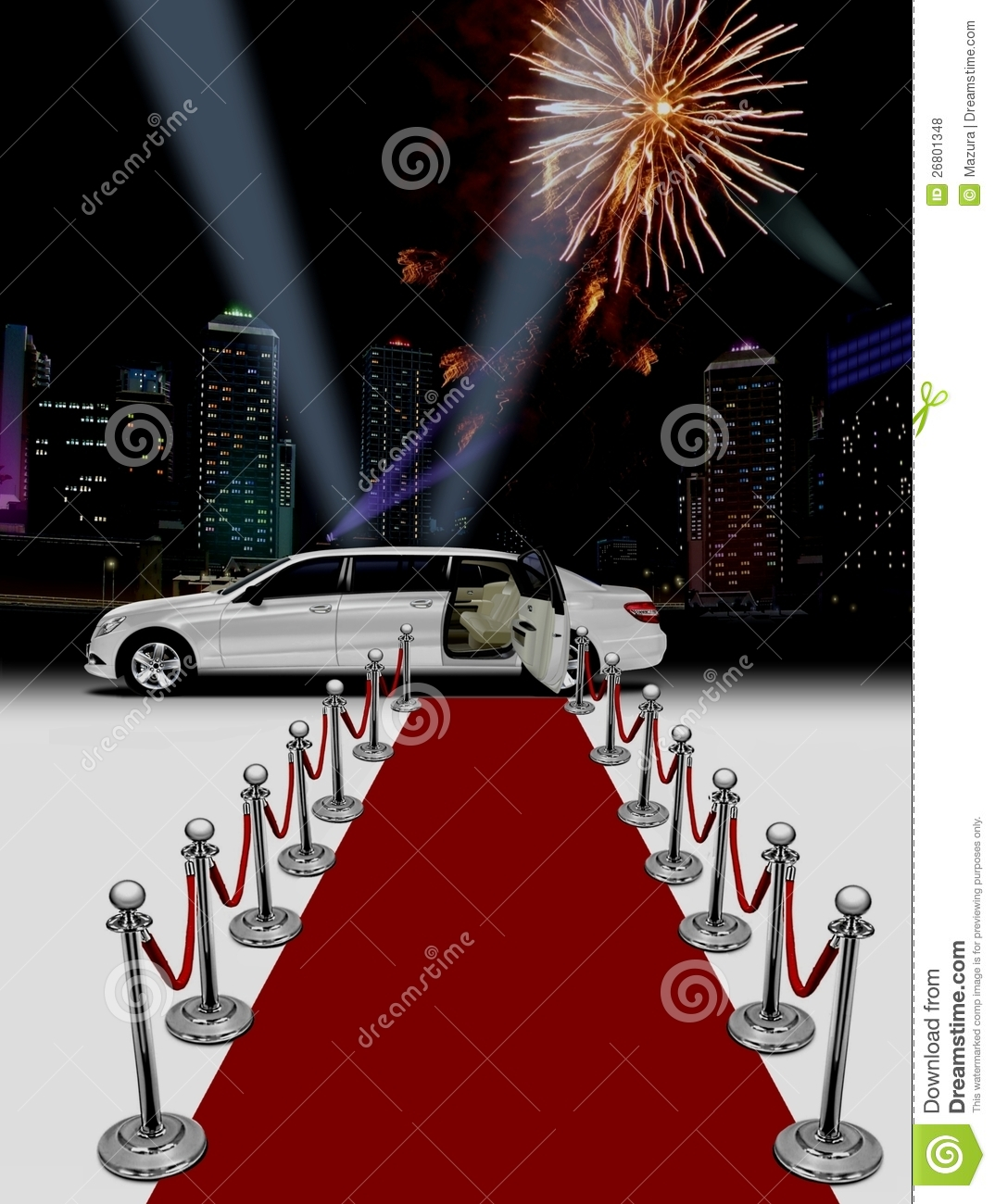 White Limo And Red Carpet Royalty Free Stock Photos
