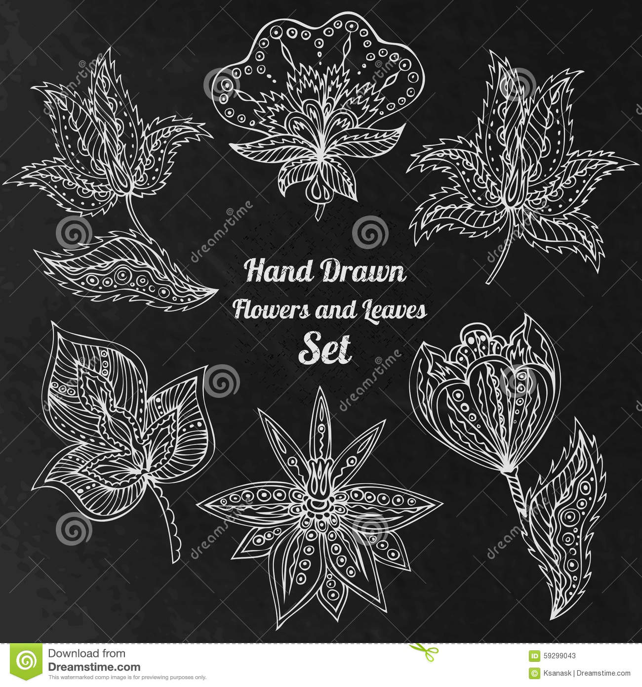 Abstract Line Drawing Flowers : White line art flowers and leaves at black grunge
