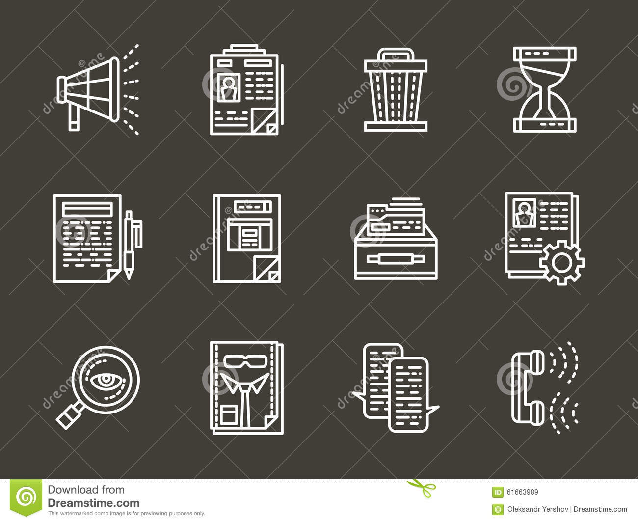 white line icons for personnel search stock illustration image white line icons for personnel search