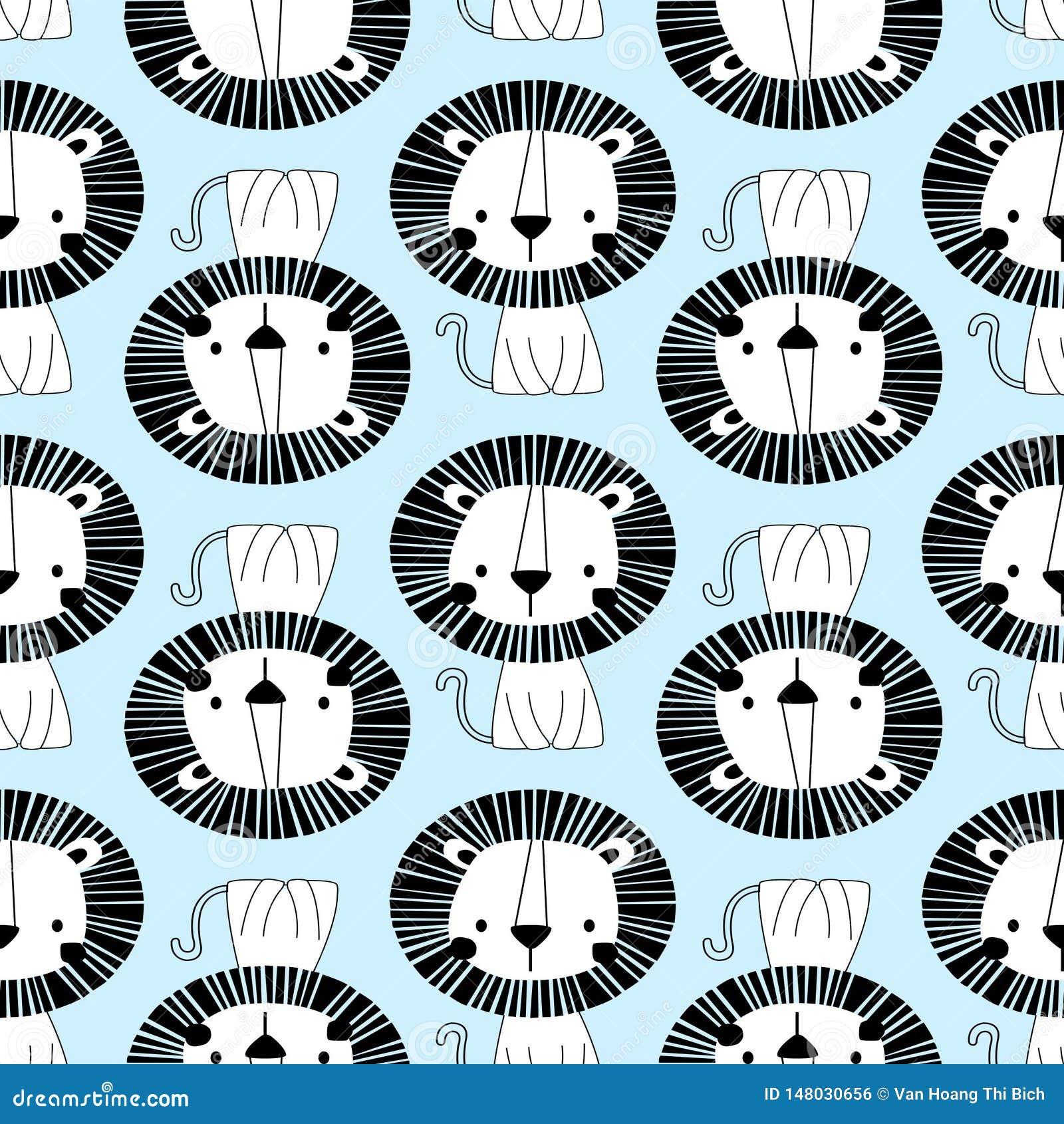 White lion seamless pattern