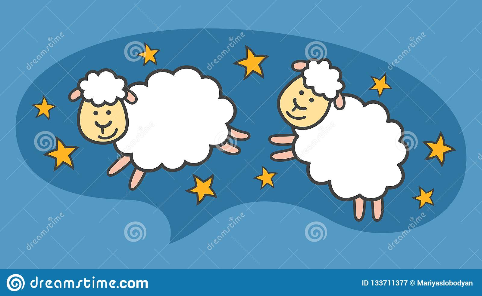 White little cartoon sheeps or lambs are flying in the blue night sky.