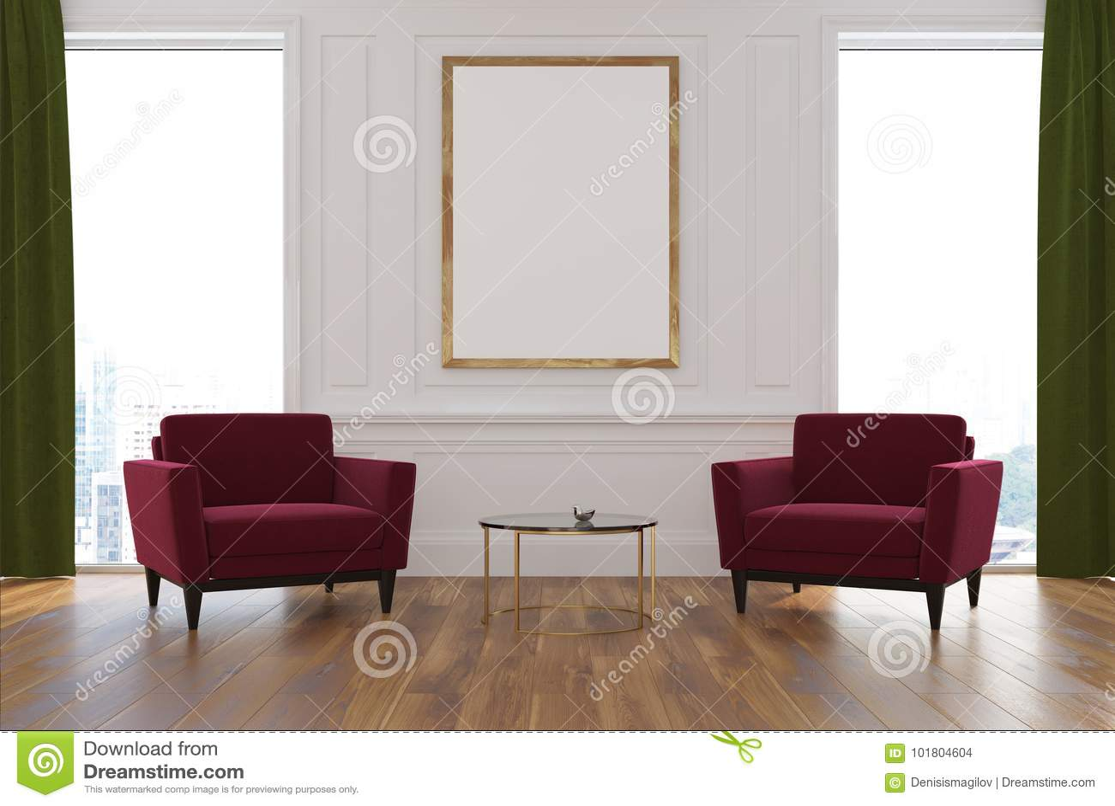 White Living Room Armchairs Poster Stock Illustration