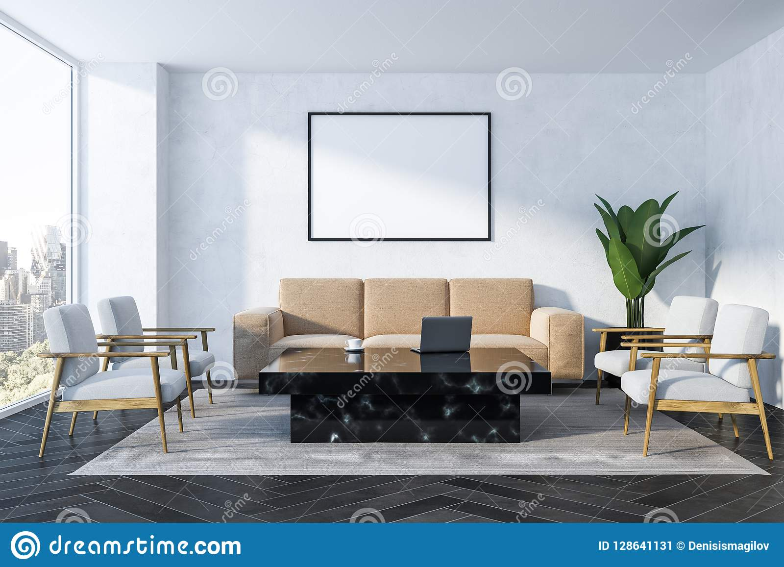 Pleasant White Living Room Beige Sofa And Poster Stock Illustration Gmtry Best Dining Table And Chair Ideas Images Gmtryco