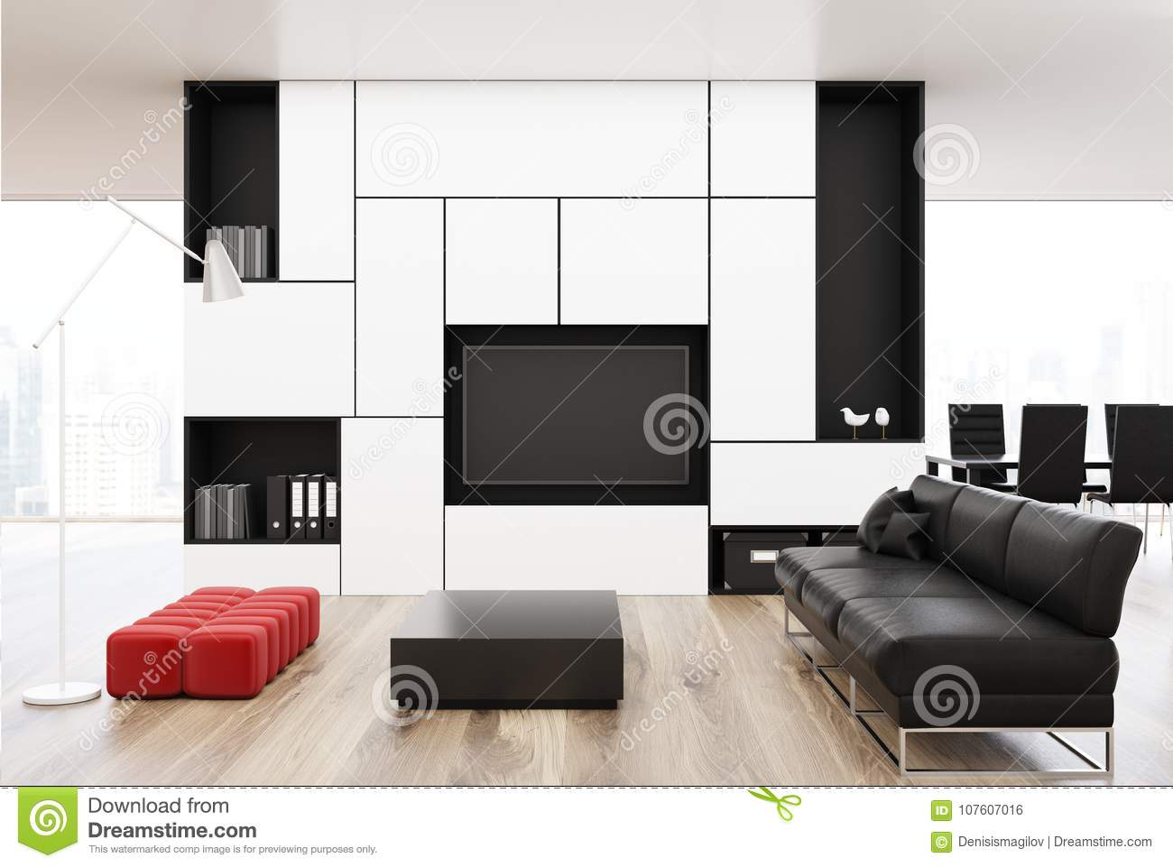 White Living Room With A Black Sofa, Red Stock Illustration ...