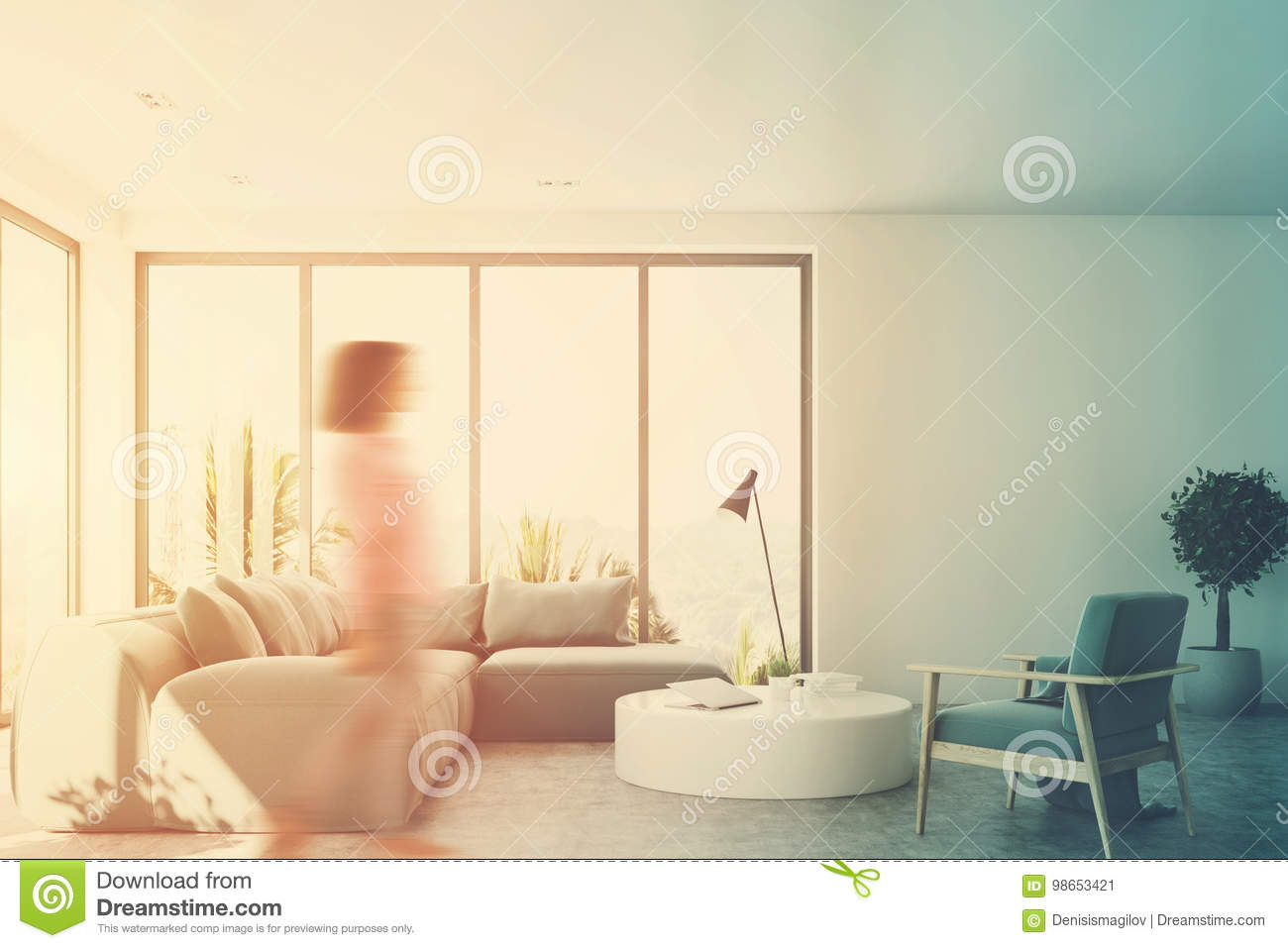 White Living Room With A Blue Sofa, Front, Girl Stock Image - Image ...