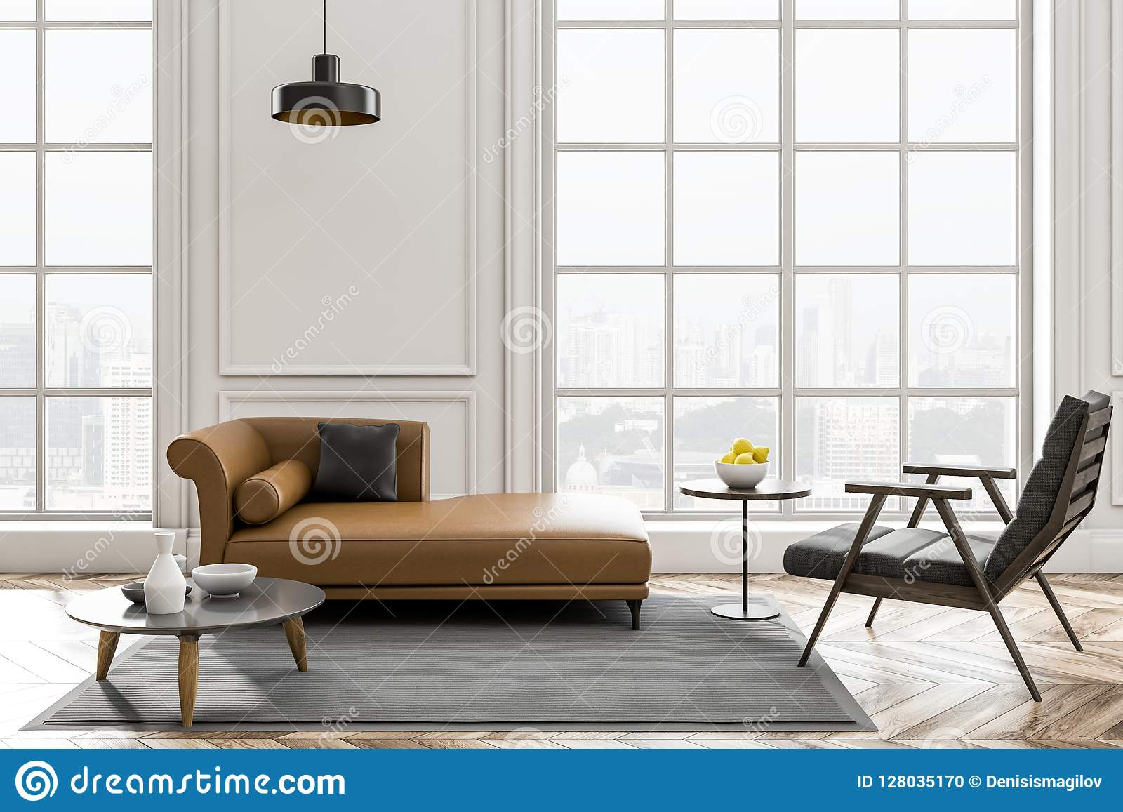 Fine White Living Room With Brown Sofa Stock Illustration Gmtry Best Dining Table And Chair Ideas Images Gmtryco