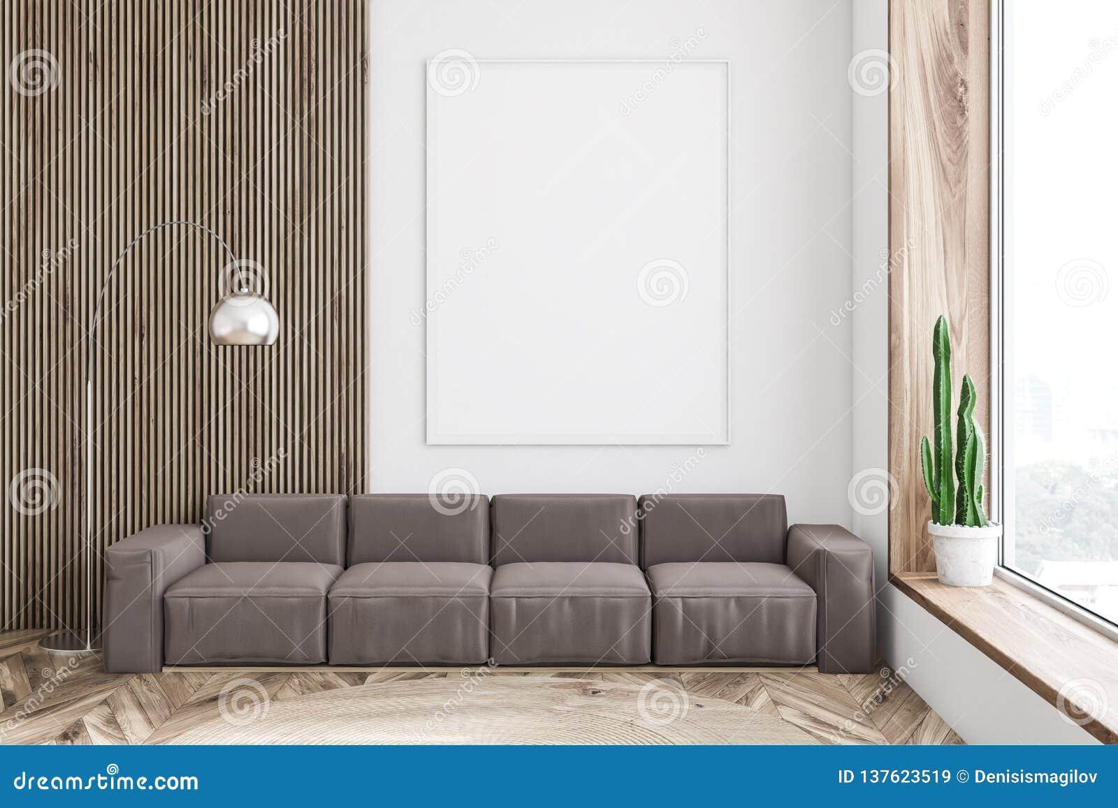 Wondrous White Living Room Brown Sofa And Poster Stock Illustration Inzonedesignstudio Interior Chair Design Inzonedesignstudiocom