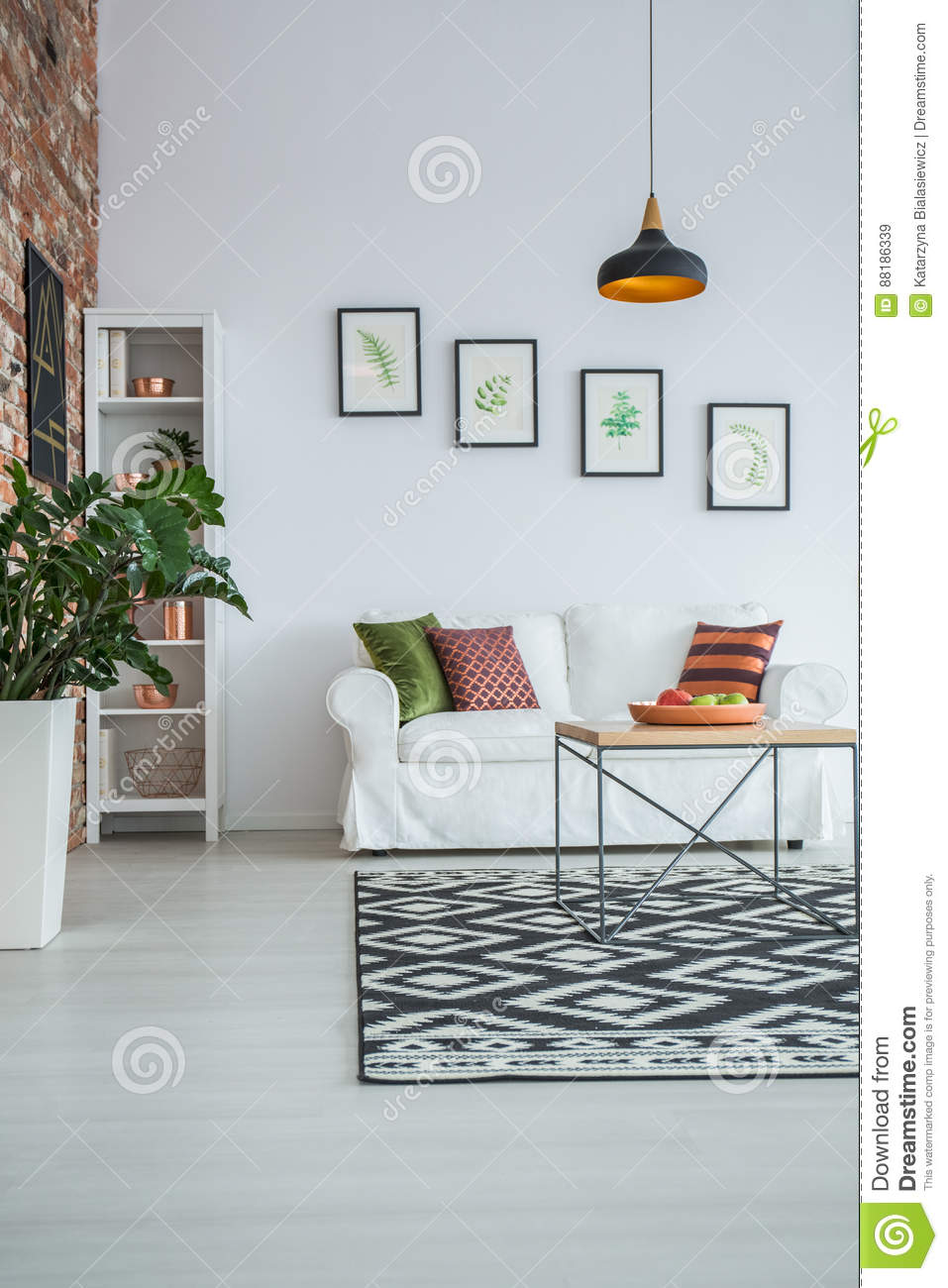 White Living Room With Carpet Stock Image - Image of gold, modern ...