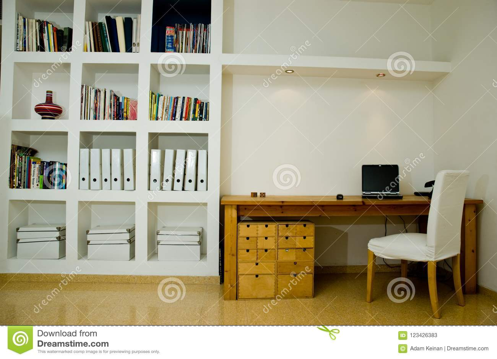 White Living Room Computer And Brown Desk Interior Design Stock Image Image Of Poster Desk 123426383