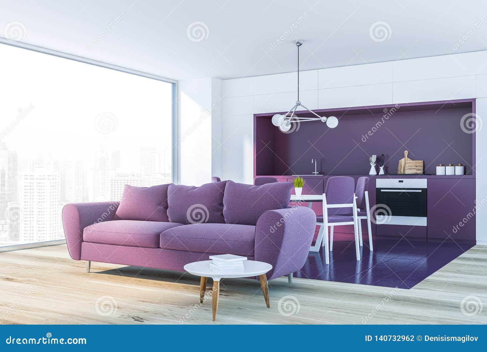 White Living Room Corner, Red Sofa Stock Illustration ...