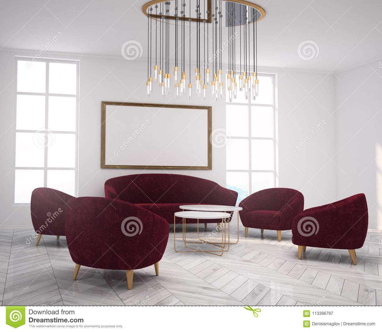 White Living Room Corner Sofa, Armchairs, Poster Stock Illustration ...