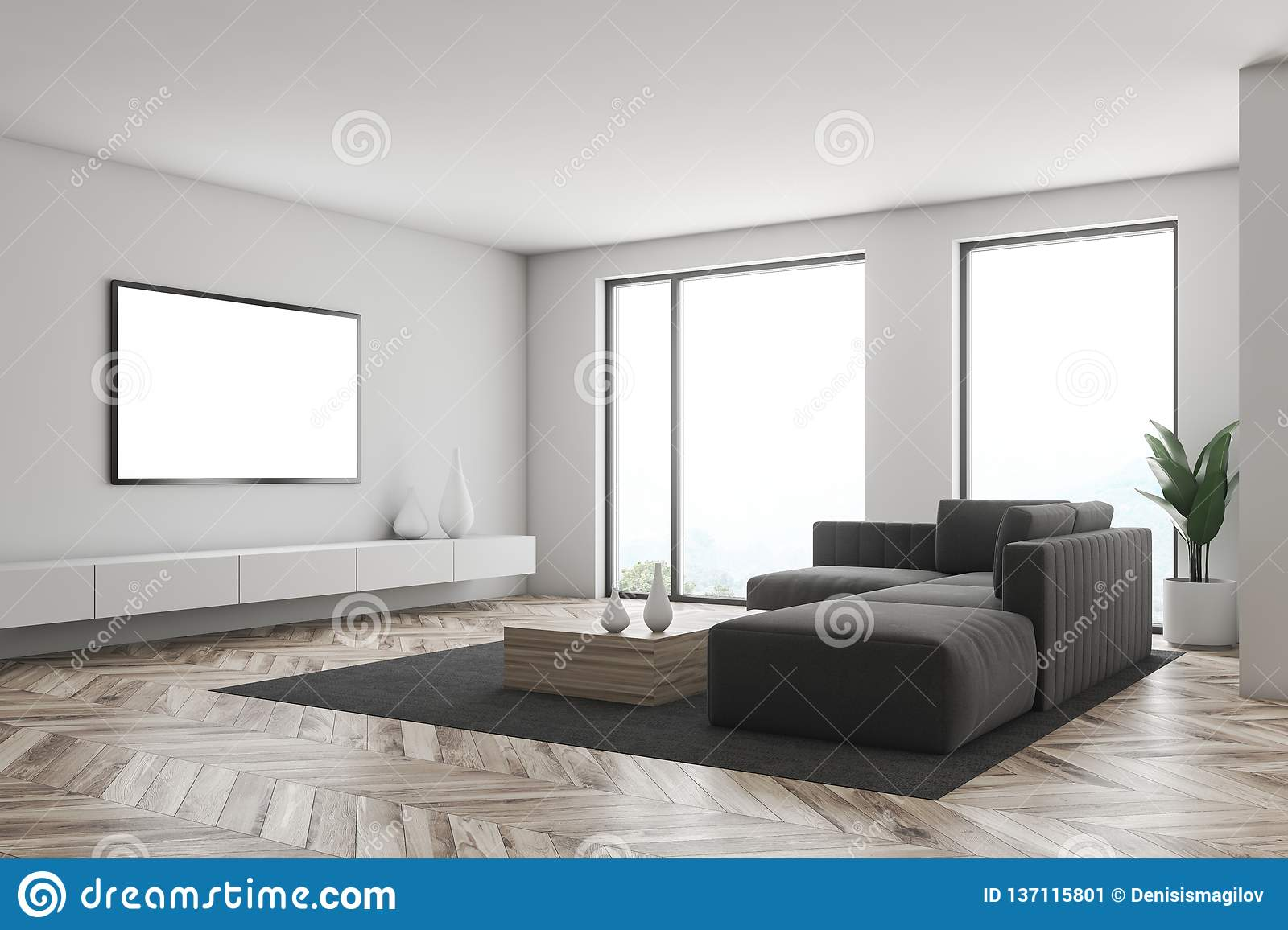 White Living Room Corner With Tv Stock Illustration Illustration Of Cushions Lifestyle 137115801