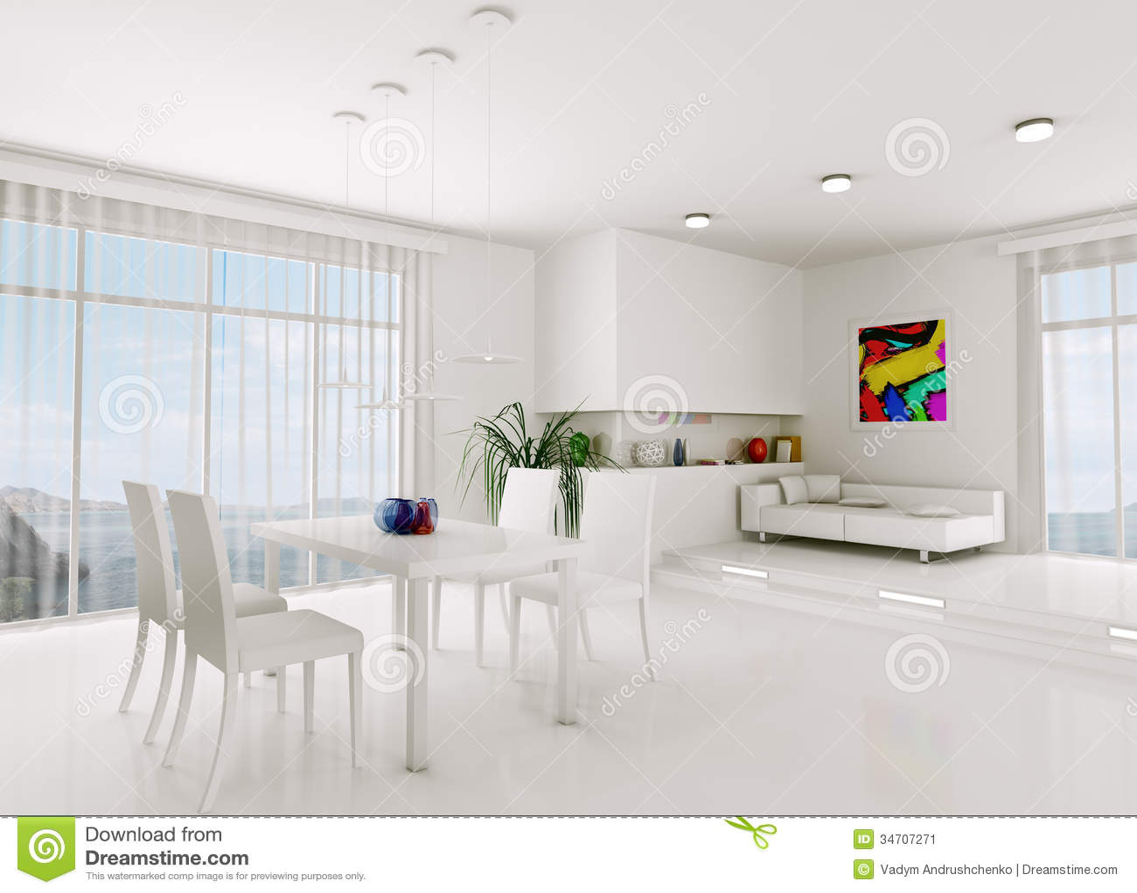 modern white stock panorama living room d render interior illustration lamp house of