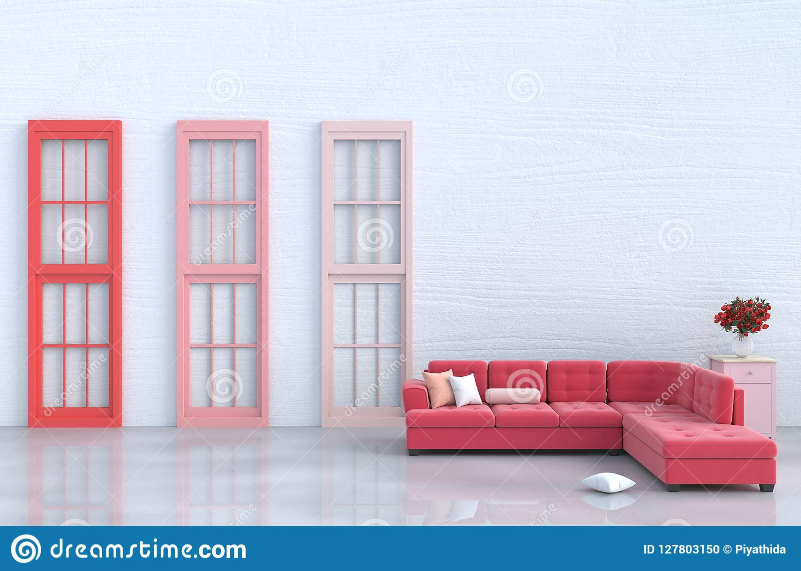 White Living Room Decor With Red Sofa Stock Illustration