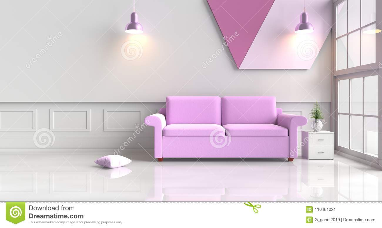 White Living Room Decorated With Purple Sofa. Stock Illustration ...