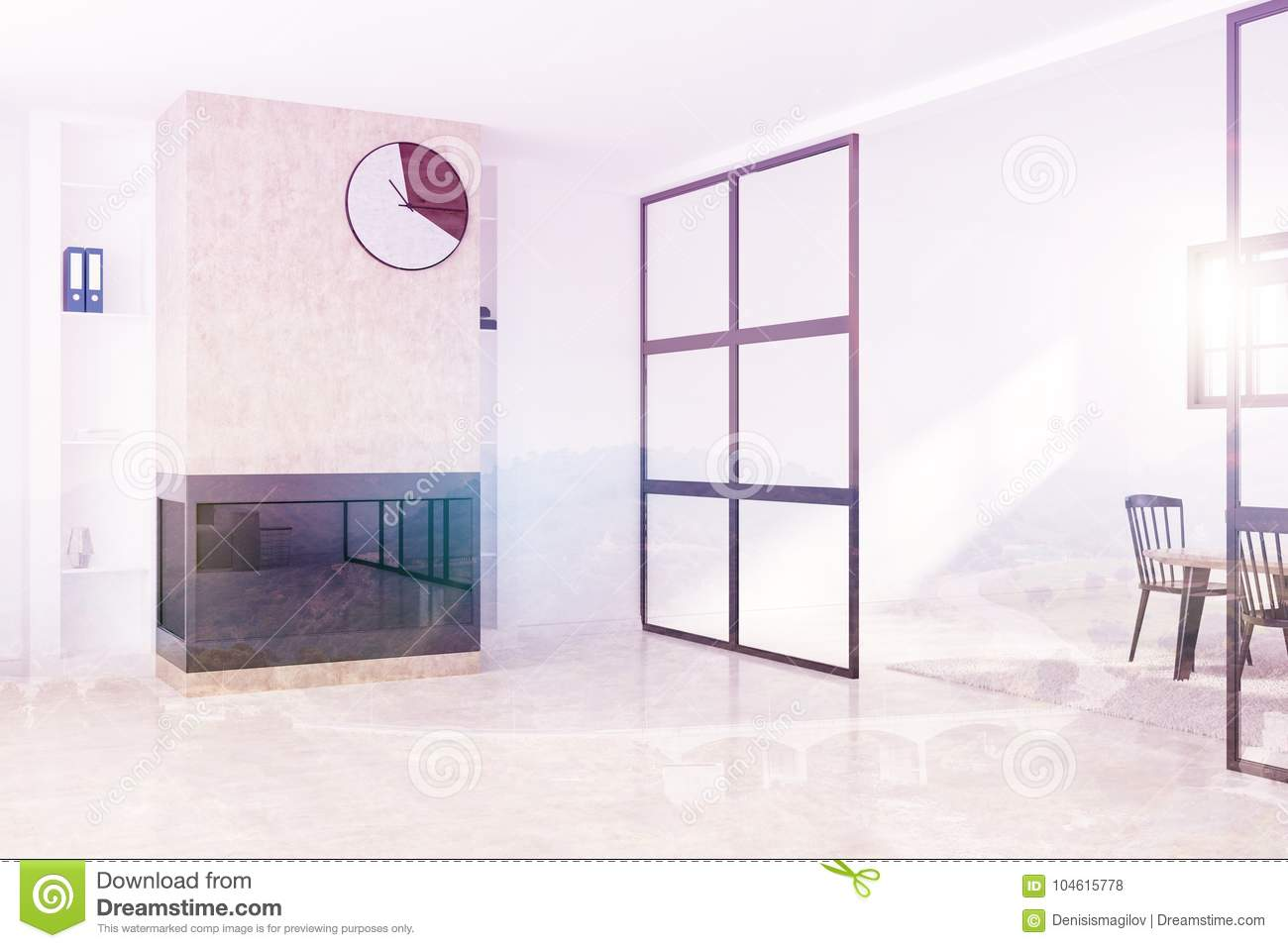 White Living Room With Fireplace Clock Side Toned Stock Illustration ...