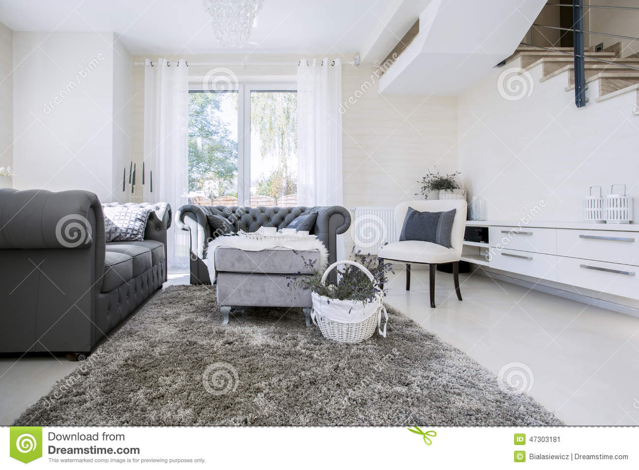Amazing White Living Room With Grey Sofas Stock Image Image Of Pdpeps Interior Chair Design Pdpepsorg