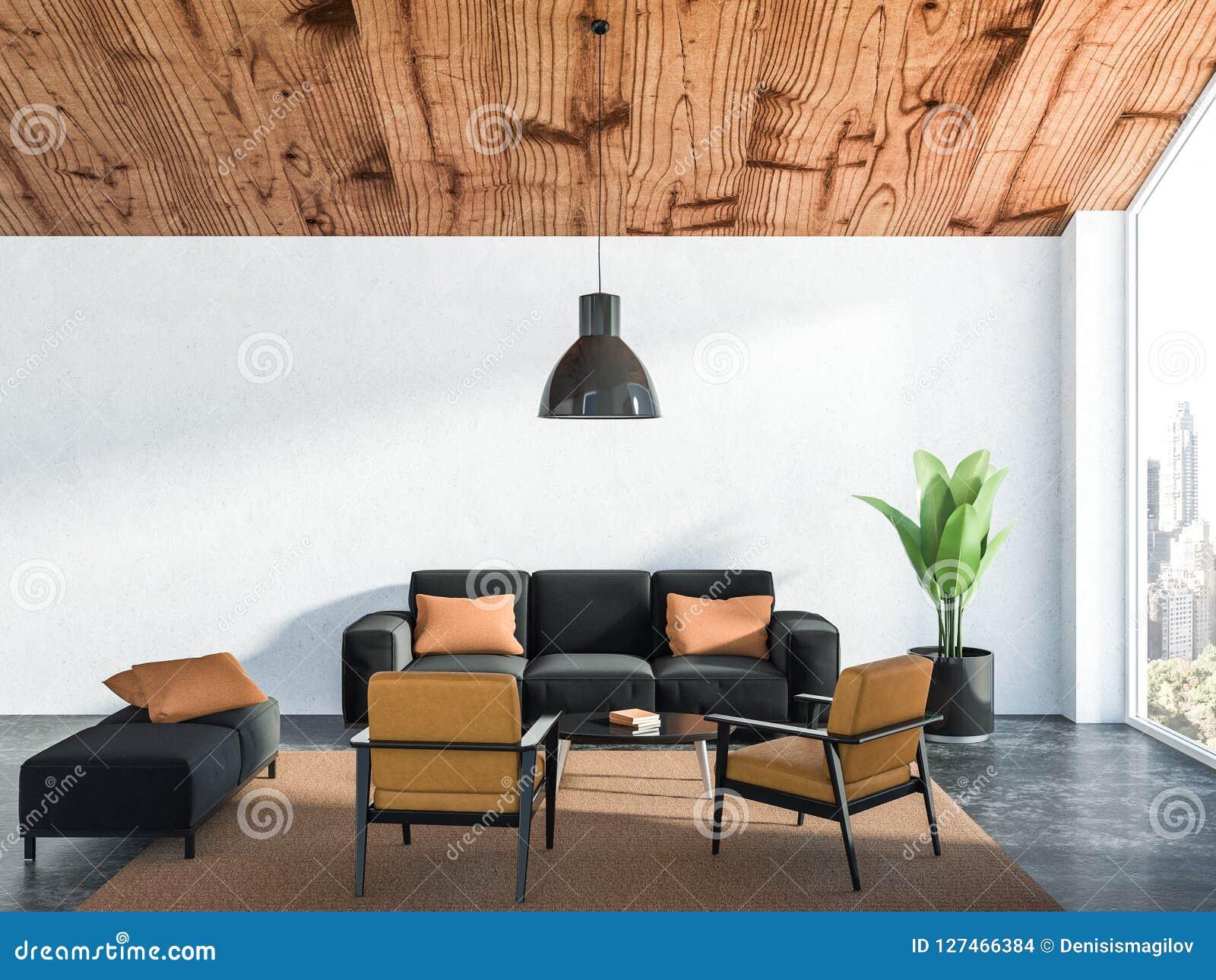 Picture of: White Living Room Interior Black Sofa Stock Illustration Illustration Of Design Hotel 127466384