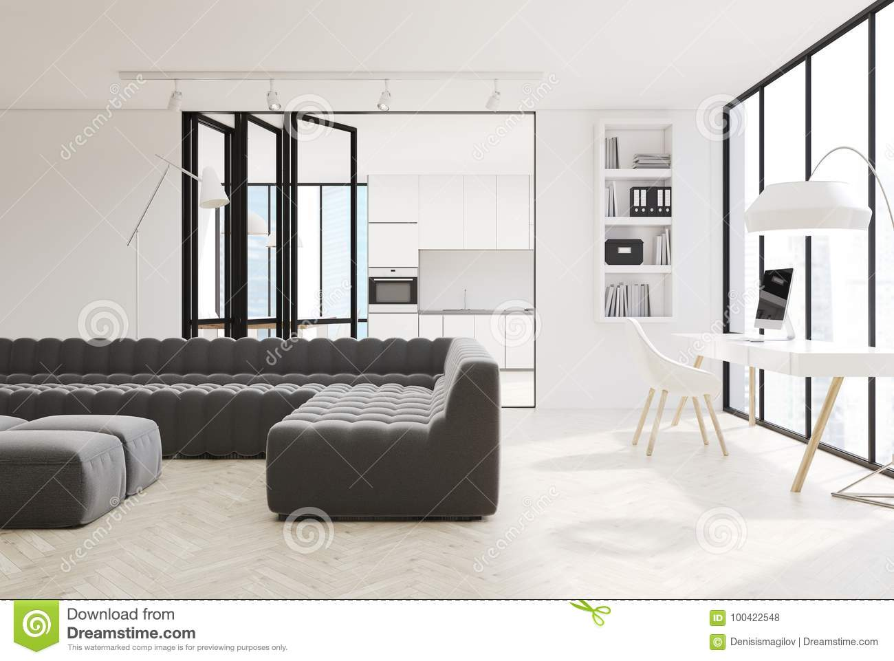 Brilliant White Living Room Interior Black Sofas Stock Illustration Caraccident5 Cool Chair Designs And Ideas Caraccident5Info