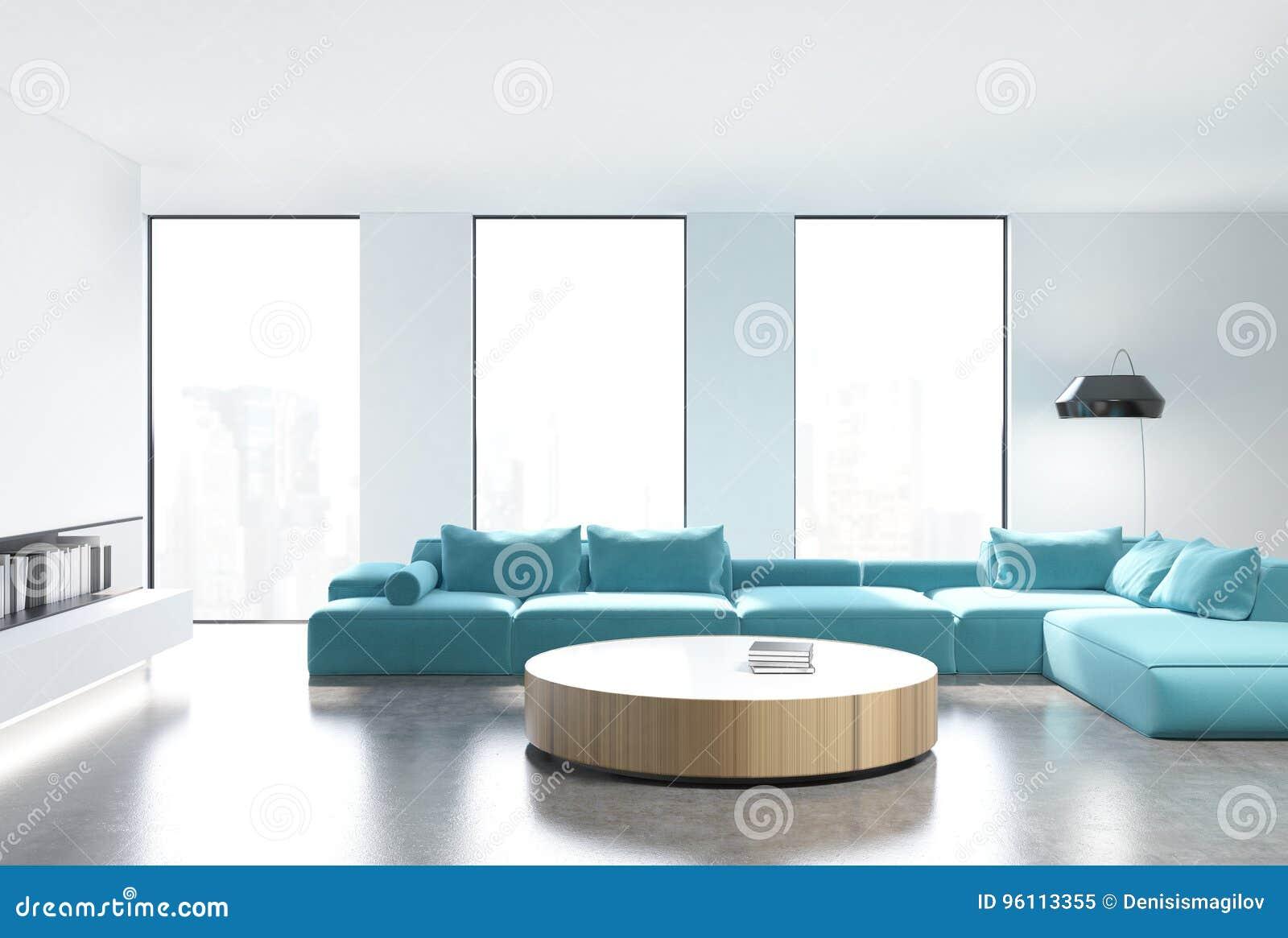 White Living Room Interior, Blue Sofa, Front Stock Illustration ...