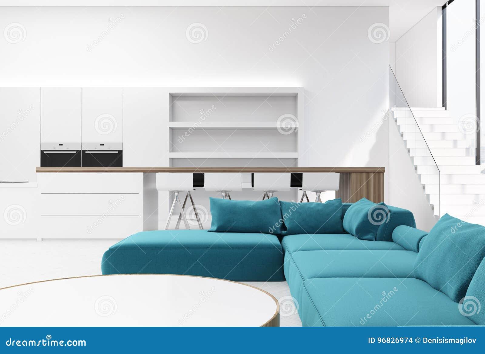 White Living Room Interior, Blue Sofa Stock Illustration ...