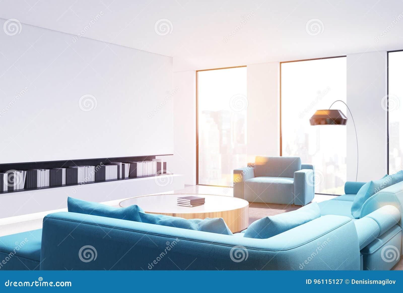 White Living Room Interior, Blue Sofa Side, Toned Stock Illustration ...