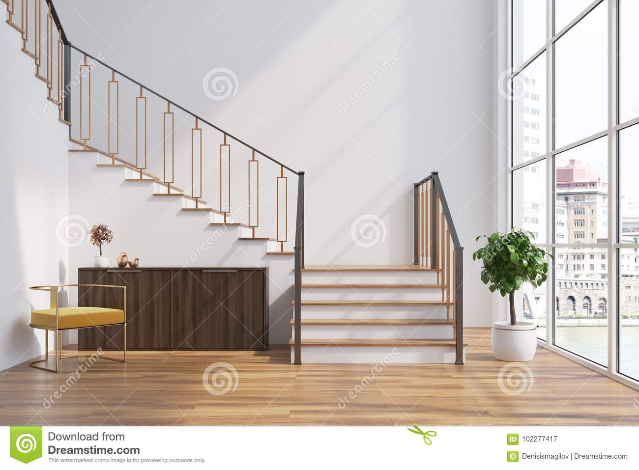 White Living Room Interior Chest Of Drawers Stairs Stock ...