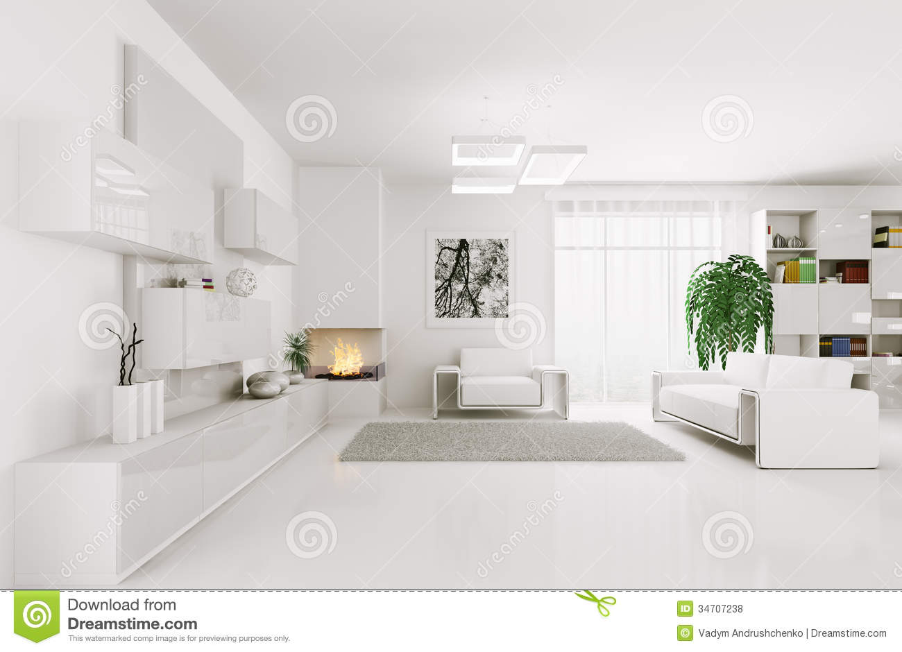 White Living Room Interior 3d Royalty Free Stock s Image