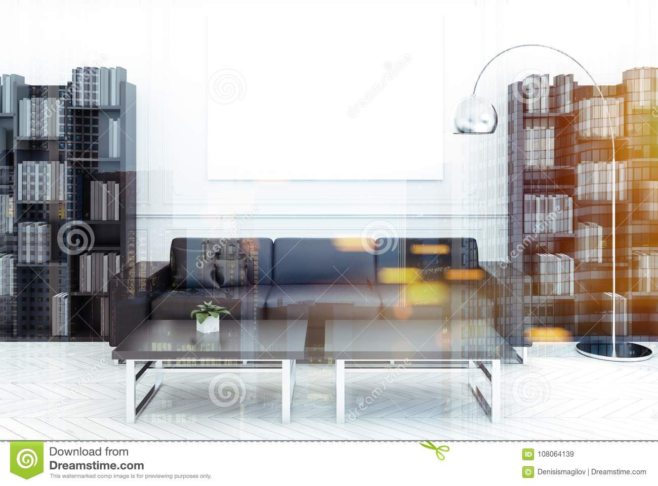 White Living Room Black Sofa Poster Double Stock