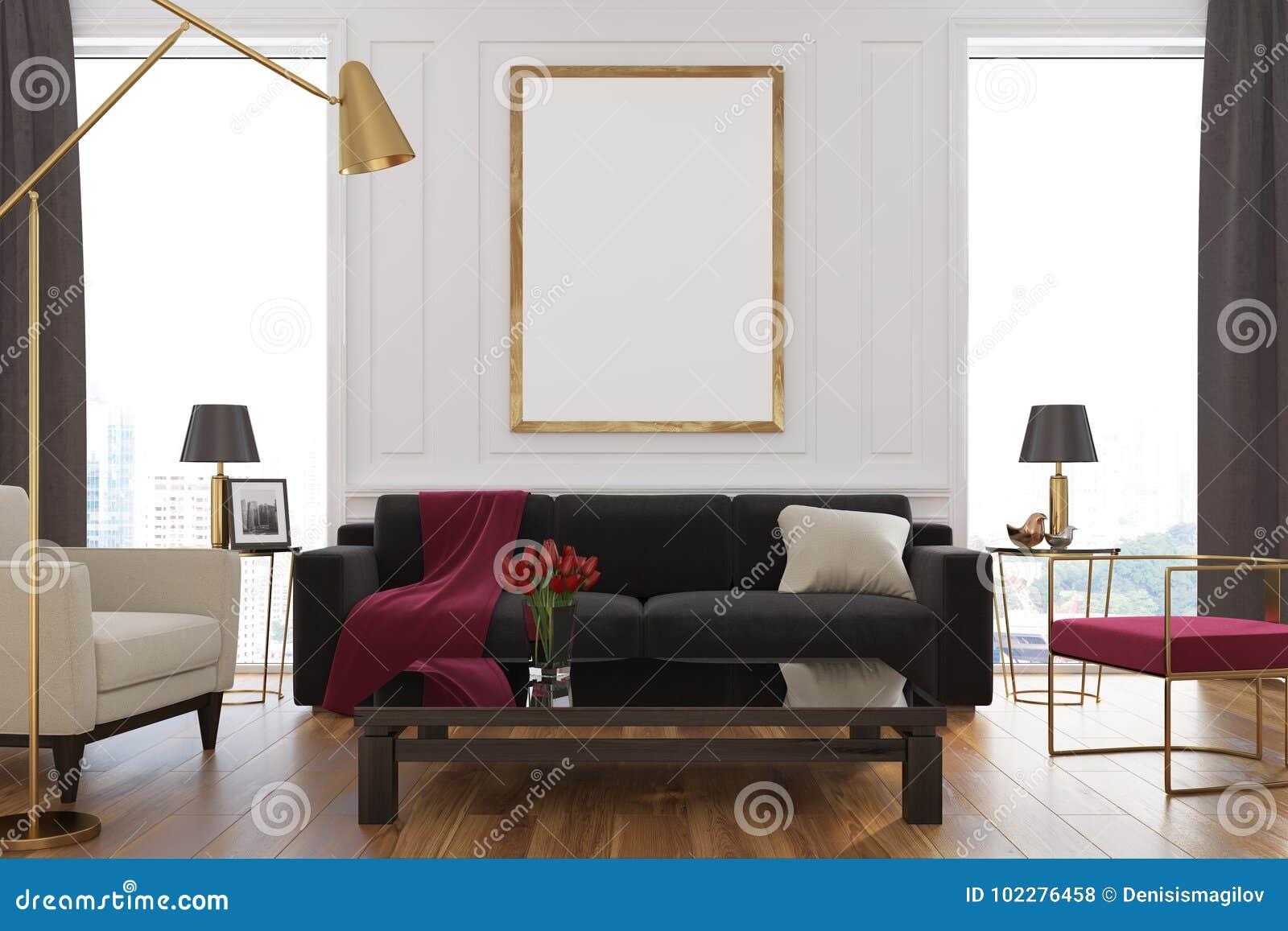 Picture of: White Living Room Sofa Poster Stock Illustration Illustration Of House Minimal 102276458