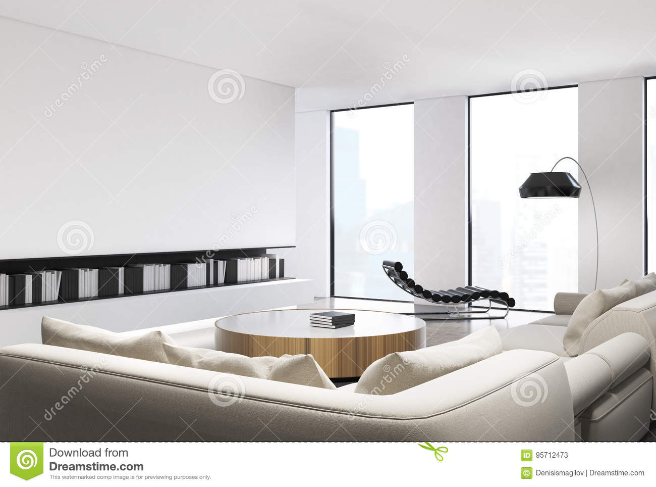 White Living Room Interior Stock Illustration Illustration