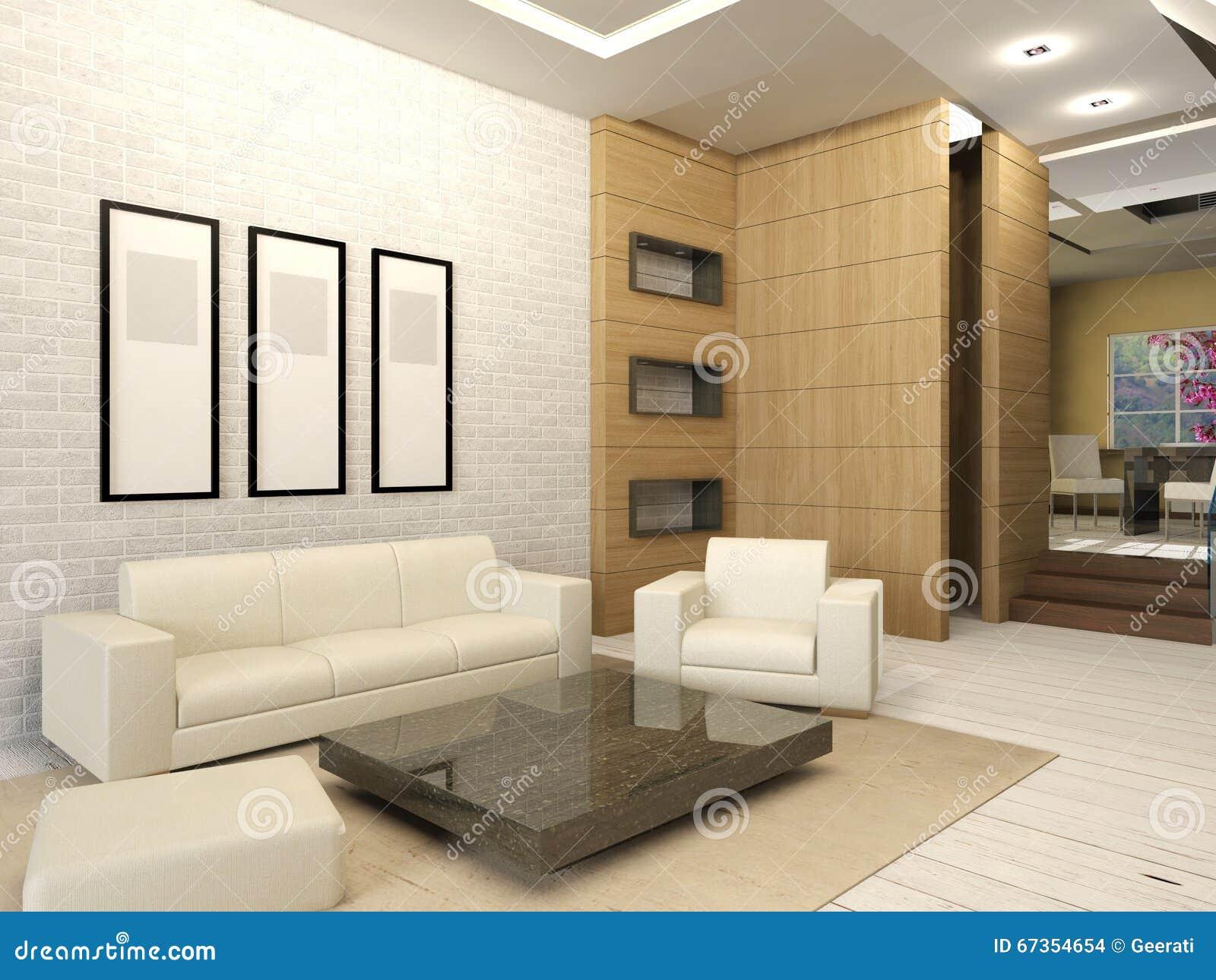 Interior design of modern white living room royalty free for White modern interior design