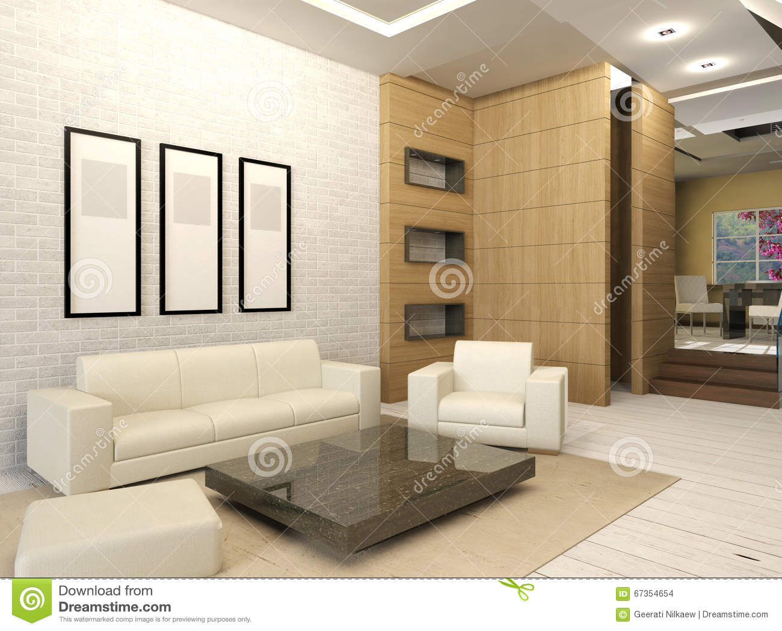 Interior Design Of Modern White Living Room Royalty Free