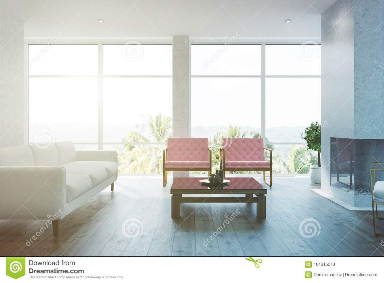 White Living Room Interior Pink Armchairs Toned Stock Illustration ...