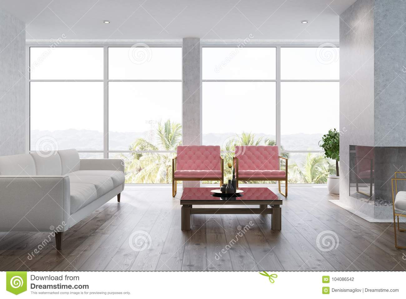 White Living Room Interior Pink Armchairs Stock Illustration ...