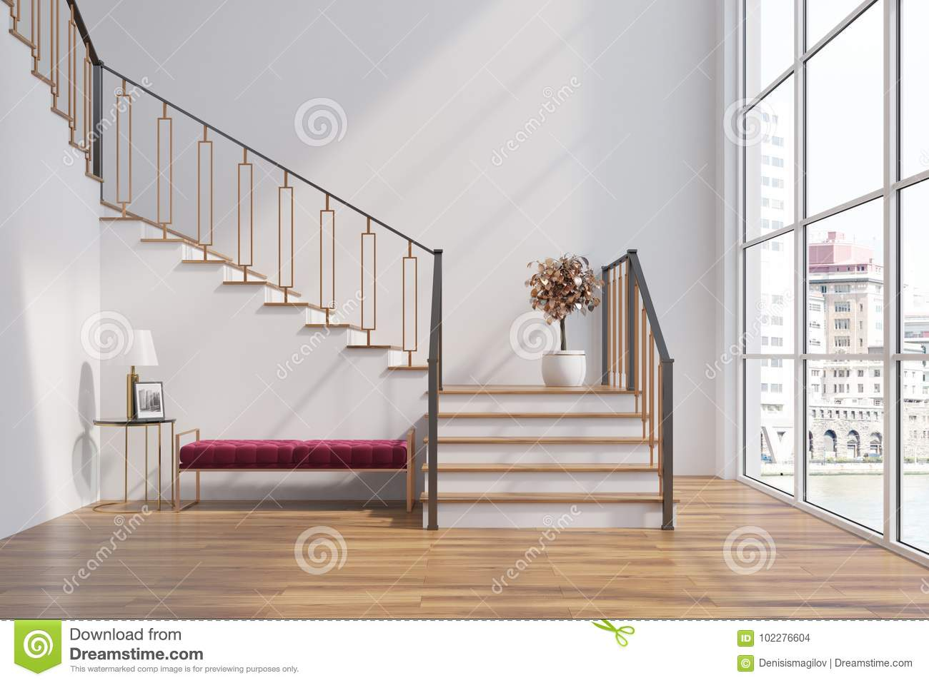 White Living Room, Stairs, Red Bench Stock Illustration ...