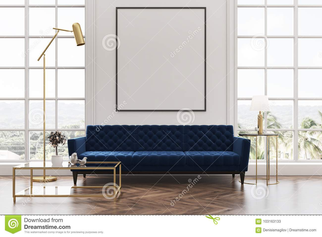 White Living Room, Blue Sofa, Poster Stock Illustration ...