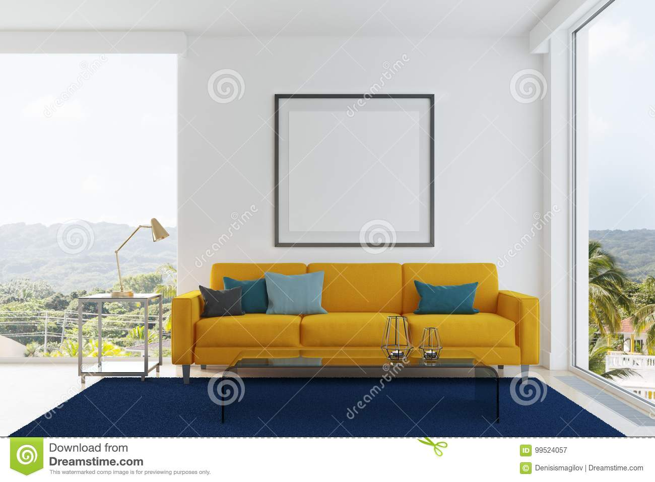 Yellow Sofa, Blue And Green Pillows Living Room Stock Illustration ...
