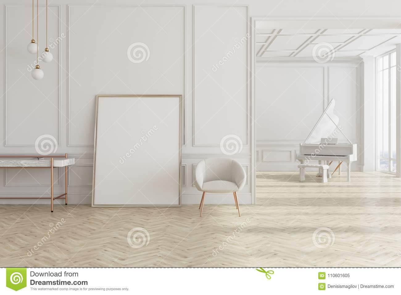 White Living Room With Piano And Poster Stock Illustration ...