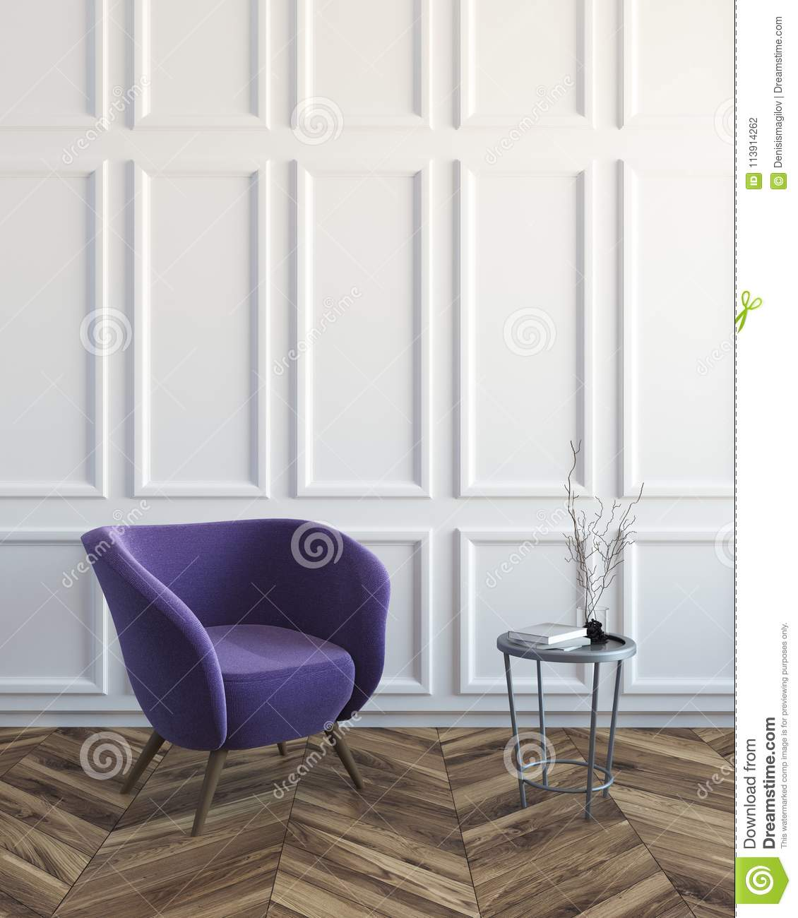 White Living Room With A Purple Armchair Stock Illustration ...