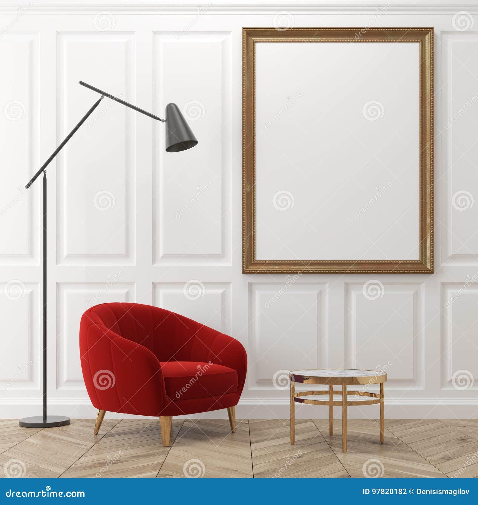 White Living Room, Red Armchair, Poster Stock Illustration ...