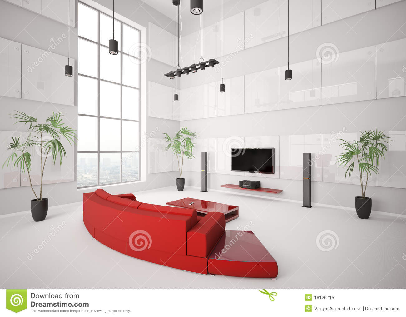 White living room with red sofa interior 3d stock for Interieur huiskamer