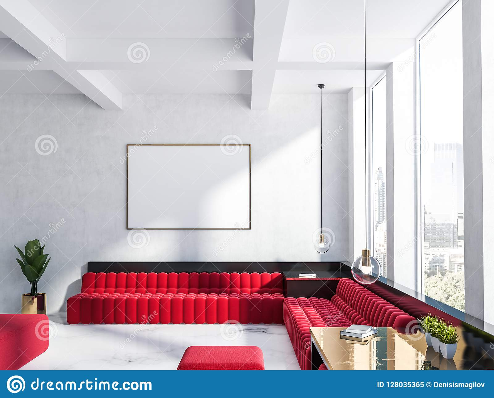 White Living Room, Red Sofa And Poster Stock Illustration ...
