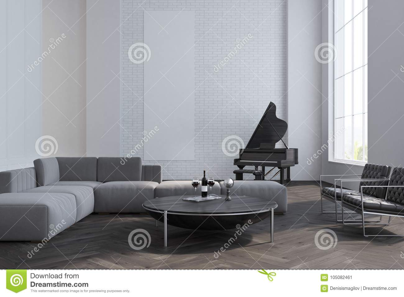 White Living Room, Sofa And Piano Stock Illustration - Illustration ...