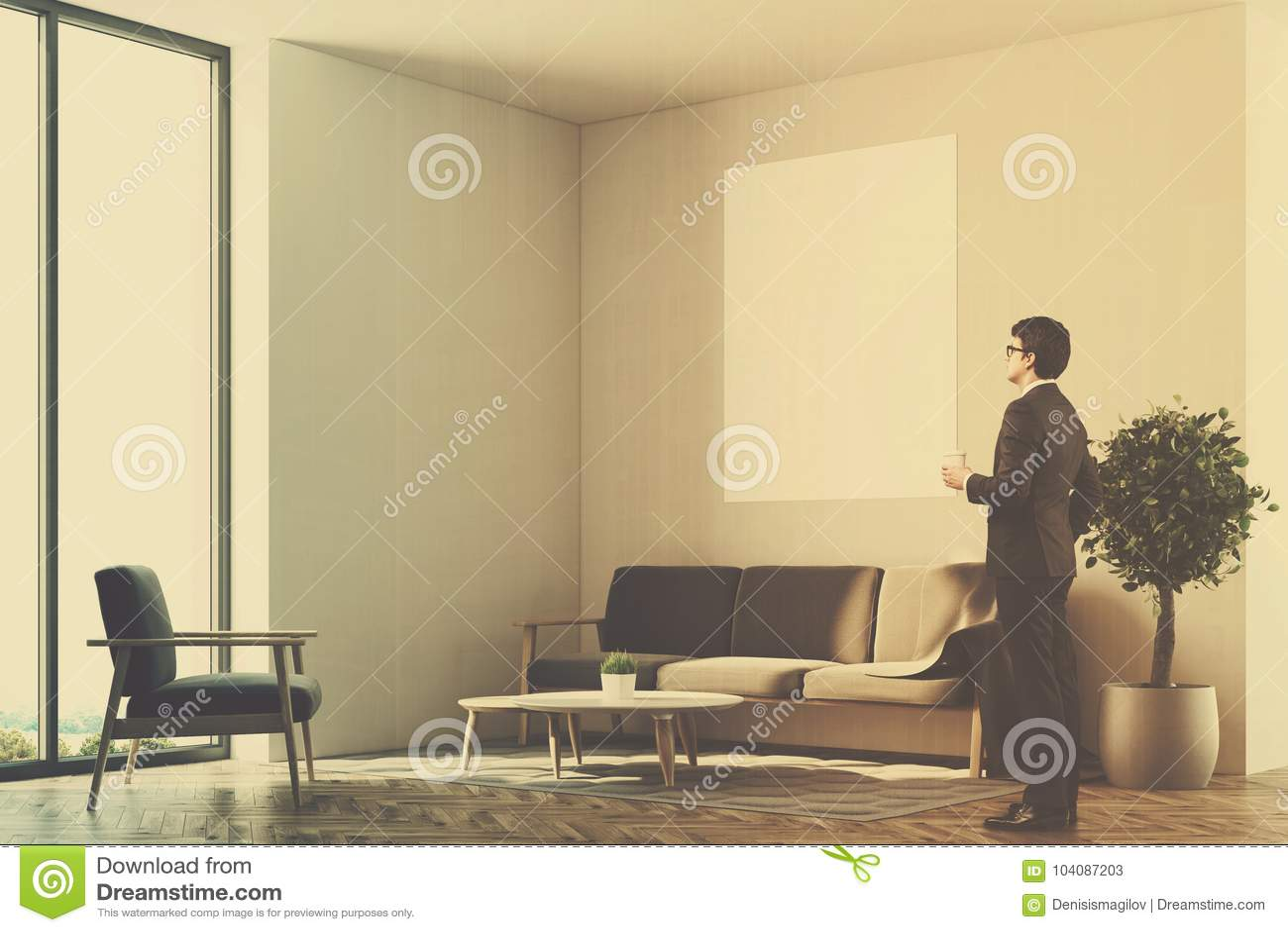 White Living Room, Sofa, Poster Side, Man Stock Illustration ...