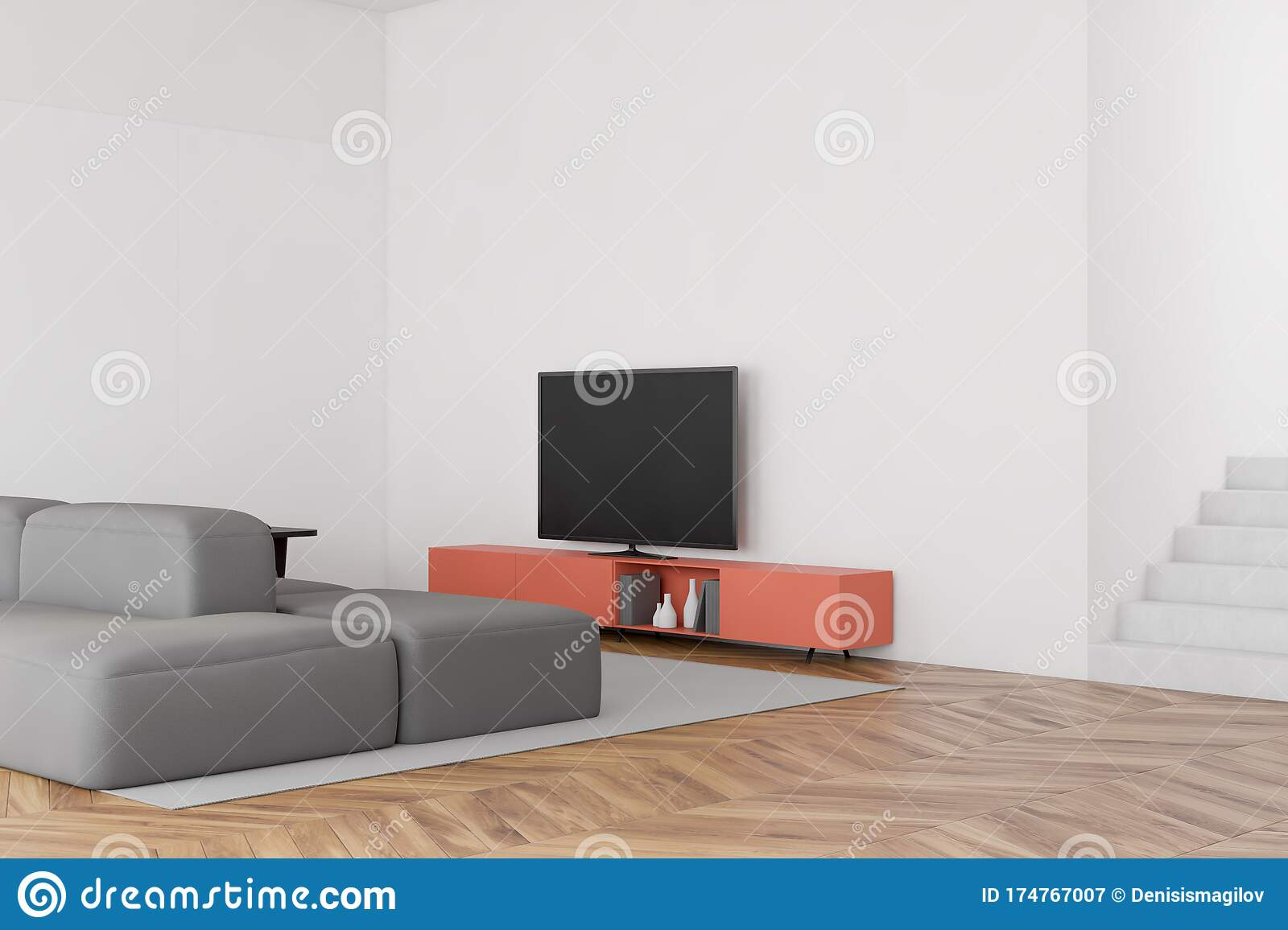 White Living Room With Sofa Tv And Stairs Stock Illustration Illustration Of Couch Sitting 174767007
