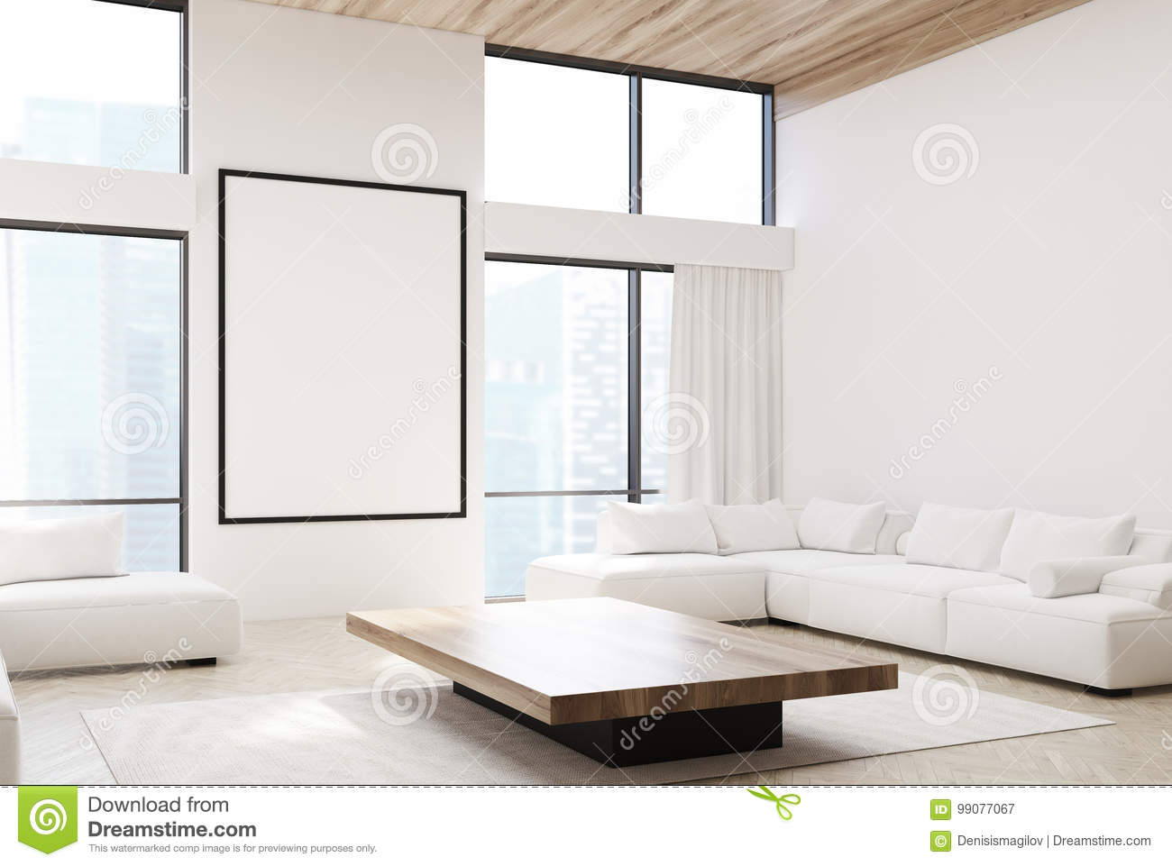 White Living Room, Sofas And A Poster, Side Stock Illustration ...